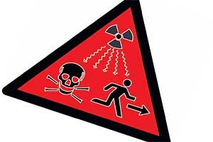 Warnschild der IAEA vor atomarer Strahlung. Wird es auch noch in 1000 Jahren verstanden werden? 