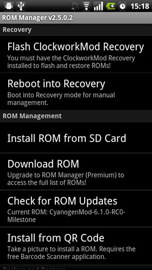 Mit dem ROM Manager kann nach Updates gesucht oder diese auch gleich eingespielt werden.