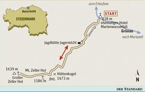 Gesamtgehzeit 5 bis 5 Stunden, Hhenunterschied 850 m. Kein &#xD;&#xA;Sttzpunkt auf der Strecke, Jagdhaus mit gedeckter Veranda nahe dem &#xD;&#xA;Httensattel als Unterstand. K25V Blatt 4210-Ost (Mariazell), &#xD;&#xA;Mastab 1:25.000. 