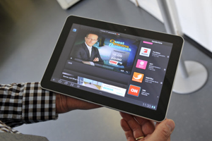 Mobiles Kabel-TV: Galaxy Tab mit TV-App von &quot;3&quot;.