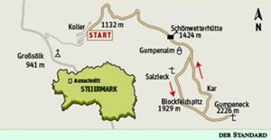 Gesamtgehzeit sechs Stunden, Hhendifferenz 1100 Meter. Schnwetterhtte&#xD;&#xA; bis 9. Oktober&amp;nbsp; bewirtschaftet. K25V Blatt 3218-Ost (Bad &#xD;&#xA;Mitterndorf) und 4213-West (Grimming), Mastab 1:25.000. 