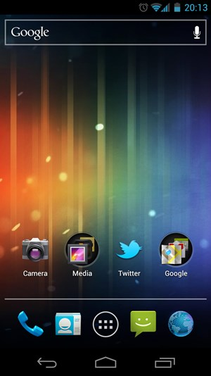 "Der Home-Screen von Android 4.0 ""Ice Cream Sandwich"" auf dem Galaxy Nexus."