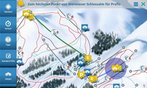 Die App beinhaltet ein Ski-Navigationssystem, einen Pistentracker, einen Httenguide, einen Event- und bernachtungsguide sowie ein Hotspot-Verzeichnis mit Pisten, Liften, Toiletten, Skibus-Haltestellen und mehr.