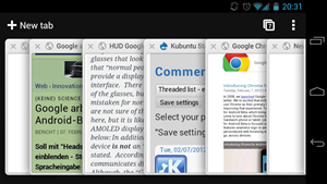 Google Chrome fr Android: Derzeit Gerten mit Android 4.0 vorbehalten. Im Bild die Tab-bersicht.