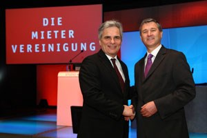 Kanzler Faymann, MV-Prsident Niedermhlbichler: 