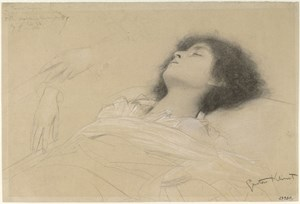 Wirres Haar und klar abgegrenztes Antlitz: Klimts Studie der Julia fr &quot; Theater Shakespeare&quot; (1886-1888) im Stiegenhaus des Burgtheaters ist eines der klarer ausgearbeiteten Bltter in der Schau. Foto: