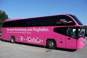 T-Mobile und BB-Postbus bieten auf einer Strecke der Flughafenbusse nun kostenloses WLAN an. 