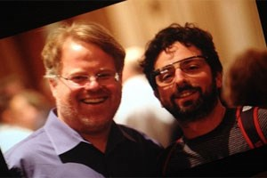 Robert Scoble mit Sergey Brin (samt Google-Brille). 