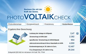 Der &quot;Photovoltaik-Check&quot; der s Bausparkasse rechnet auch aus, wie vielen mit einem VW Golf gefahrenen Kilometern die erzielbare CO2-Einsparung in 30 Jahren entspricht.