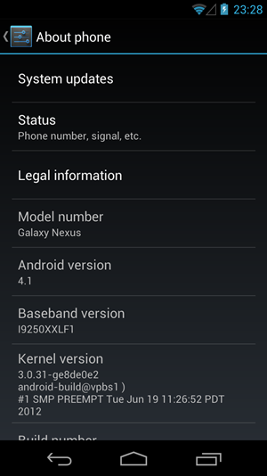 Die derzeit aktuelle Vorversion von Android 4.1 auf einem Galaxy Nexus.