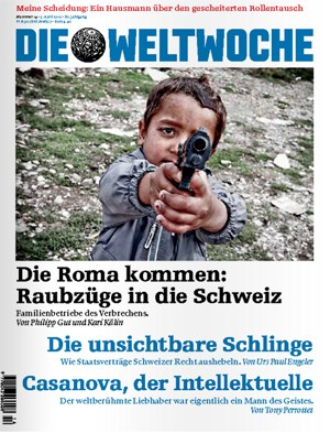 Das heftig kritisierte Cover der Schweizer &quot;Weltwoche&quot;. Das Bild des Fotografen Livio Mancini entstand im kosovarischen Gjakova - nicht in der Schweiz.