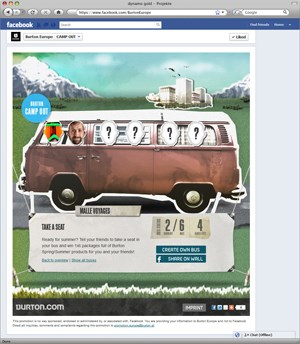 Gamification first: Die Facebook-App &quot;Burton Camp Out&quot; konfrontiert die User mit vier spielerischen Herausforderungen.