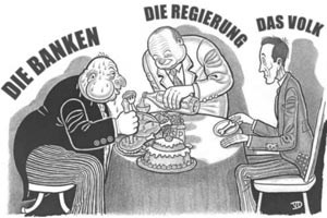Vernderter Cartoon: Der Banker hat eine andere Nase gezeichnet  bekommen, seine &#xD;&#xA;Manschettenknpfe werden von Davidsternen geziert. Merkmale, die ihn als&#xD;&#xA; Juden dastehen lassen - und historische Assoziationen wecken. 