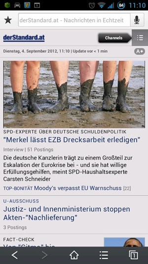 Die Anzeige diverser Webseiten klappt tadellos