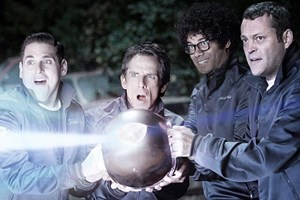 "Einfach draufballern; Jonah Hill, Ben Stiller, Richard Ayoade und Vince Vaughn in ""The Watch""."