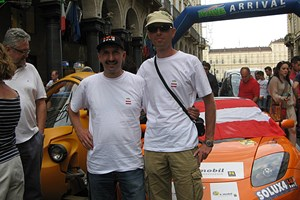 Ankunft mit Co-Pilot Andreas Ranftl am Etappenziel Turin. 