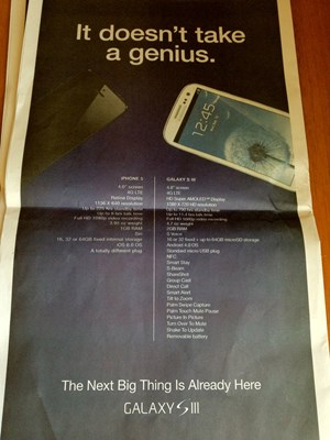 Ein groes Inserat in der USA Today: Samsung stichelt gegen das iPhone 5