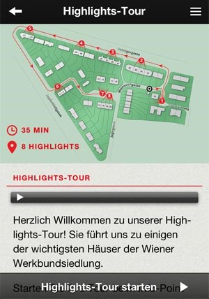 "Die iPhone-App der Werkbundsiedlung, mit ""Highlights-Tour"", Audio-Guide und ..."