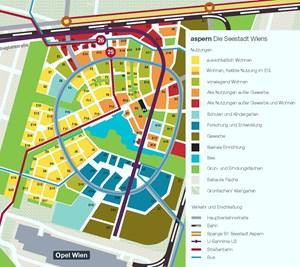 """Südlich des Sees wird zuerst gebaut. Die orangefarbenen Linien an den gelben Flächen (das """"Wohnquartier"""") markieren den Verlauf der Einkaufsstraßen, deren Läden von der """"Aspern Seestadt Einkaufsstraßen Gmbh"""" verwaltet werden. Die blau markierten Flächen bilden das """"Innovationsquartier"""", die braungrünen Gebäude sind der Gewerbebereich. Auf dem großen hellblau markierten Baufeld entsteht der Bildungscampus."""