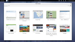 Der GNOME-Webbrowser Epiphany / Web hat eine &quot;Speed Dial&quot;-Ansicht in neuen Tabs spendiert bekommen.