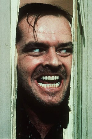 &quot;All work and no play makes Jack a dull boy&quot;: Jack Nicholson als dem &#xD;&#xA;Wahnsinn verfallener Autor in &quot;The Shining&quot;.
