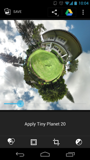 Aus vollstndigen Photo Spheres lassen sich auch &quot;Tiny Planet&quot;-Bilder erstellen.