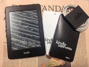 Im Lieferumfang: Ein Kindle Paperwhite, eine Kurzanleitung, eine Produktinformation und ein USB-Kabel