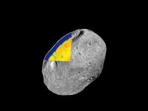 DAWN-Aufnahme des Asteroiden Vesta, ergnzt um einen hypothetischen Blick in das dynamische Innere eines vergleichbaren Asteroiden etwa 50 Millionen Jahre nach dessen Bildung.