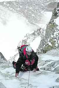 Eine Gletscherpartie im Jahr 2006: Gerlinde Kaltenbrunner in der Shisha-Pangma-Südwand.