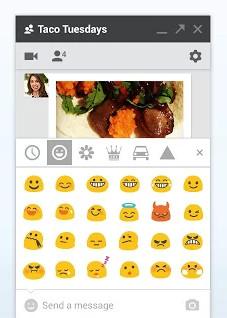 Der Web-Client ist vergleichsweise spärlich ausgefallen, verrichtet seine Arbeit aber zuverlässig. Im Bild zu sehen: Ein Teil der 850 verfügbaren Emojis.