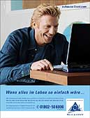Boris Becker in Aktion mit Werbepartner AOL.