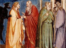 Giotto di Bondone (1267-1337), Cappella Scrovegni a PadovaLife of Christ, Judas Receiving Payment for his Betrayal
