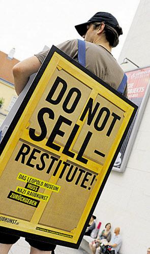 Demonstration gegen den Schiele-Verkauf in Wien.
