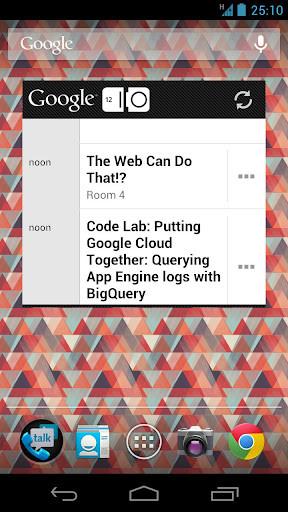 """Einer der offiziellen Screenshots zur Google-I/O-App zeigt einen leicht überarbeiten Launcher, bei dem sich vor allem das Suchfeld im Stil von """"Ice Cream Sandwich"""" unterscheidet."""