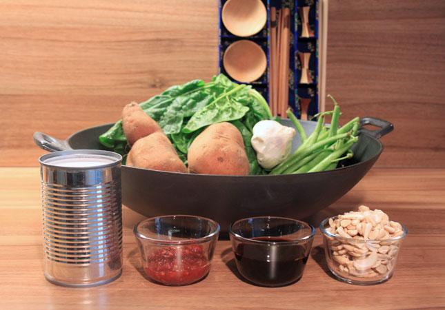 rezept f r s kartoffeln fisolen und spinat aus dem wok. Black Bedroom Furniture Sets. Home Design Ideas