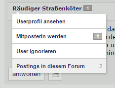 Filter nach Postings eines Users.