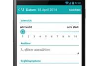 """foto: screens der """"migravent migräne-kalender""""-app: sanova"""