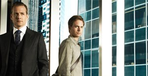 "Harvey Specter (Gabriel Macht), Mike Ross (Patrick J. Adams) in ""Suits""."