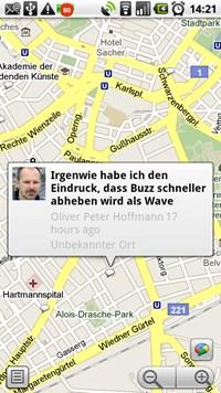 Das mobile Google Maps bietet nun einen eigenen Buzz-Layer der aktuelle Nachrichten samt ihrem Herkunftsort auf der Karte einblendet.