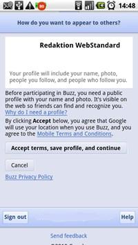 """Vor dem Abschicken der ersten Nachricht muss der Erstellung der """"Google Profile""""-Seite zugestimmt werden."""