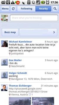 Dank Geolokalisierung lassen sich auch Buzzes aus der Umgebung anzeigen, dies funktioniert auch ohne eingeloggt zu sein / Buzz aktiv zu nutzen.