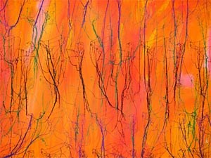 Ghada Amer, not about orange (2007) Acrylic, embroidery and gel medium on canvas. 91 x 106 cm