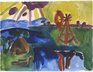 """Möglicherweise eine bedenkliche Erwerbung: """"Marschlandschaft mit rotem Windrad""""  von Karl Schmidt-Rottluff."""