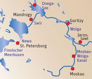 Regen Zuspruchs erfreut sich der Wasserweg von Moskau nach St.Petersburg schon deshalb, weil dabei sehr unterschiedliche Landschaftenpassiert werden und die Landgänge unkompliziert sind. Die beschriebeneRoute wird in einer zehn- und in einer dreizehntägigen Variante fürzahlreiche Termine von Nicko Tours angeboten. Für österreichischeAbflughäfen muss ein Zuschlag bezahlt werden, und das Visum kostetebenfalls extra, es wird aber organisiert. Der günstigste Preis proPerson in der Doppelkabine liegt bei rund 1000 Euro.nicko-tours.de