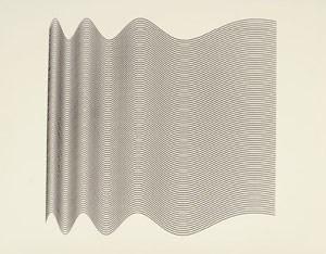 A. Michael Noll, Ninety Parallel Sinusoids with Linearly Increasing Period, Computergrafik (um 1964)  - Aus der Ausstellung und dem gleichnamigen Katalog Ex Machina (Kunsthalle Bremen)