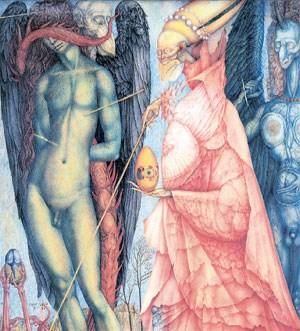 """Mystische Heilige und alchemistische Symbole versammelte der jüngste und talentierteste Zeichner der Phantastischen Realisten, Ernst Fuchs: """"Kampf der verwandelten Götter"""" (1951/52)."""