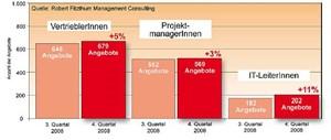 Die Gewinner im Quartalsvergleich (3. /4. Quartal 2008) In einem Quartal, in dem die Gesamtnachfrage nach IT-Fachpersonal um fünf Prozent geschrumpft ist, hat gewonnen, wer nicht verloren hat. Die größten Gewinner-Segmente: Vertriebler, Projektmanager und IT-Leiter.