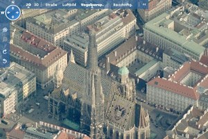Wiener Stephansdom in der Vogelperspektive bei Virtual Earth