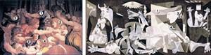 """Die türkische Kunsthistorikerin Canan Elçioglu ist sich sicher, dassPicasso die Tapisserie des Manierismus """"Massaker an den Unschuldigen""""(Bethlehemitischer Kindermord) in den Vatikanischen Museen gesehen undElemente der Komposition für sein Meisterwerk """"Guernica"""" verwendet hat."""