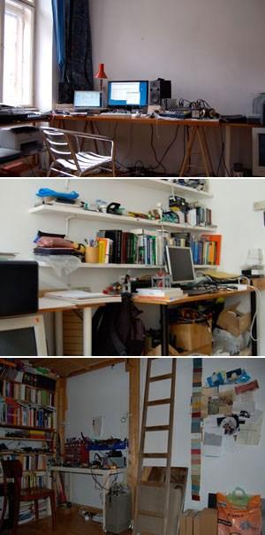 Programmierungen (oben), Installationen (Mitte), Elektronik (unten): DreiArbeitsplätze für drei unterschiedliche Aufgaben in Jörg PiringersWohnatelier.